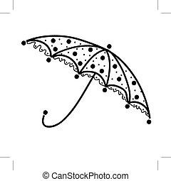 silhouette, parapluie, noir, conception