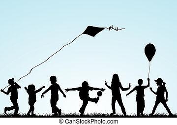 silhouette, parco, gioco, bambini