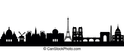 Silhouette Paris abstract on white