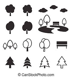 Silhouette park Icon set such as trees, forest and bench...