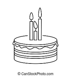 silhouette party cake with canddles icon
