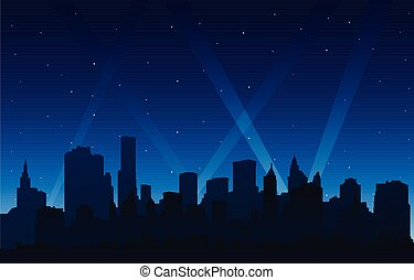 Silhouette party city at night background with lights