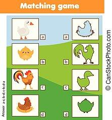 silhouette, passend, kinder, erzieherisch, game., kinder, aktivität, mit, bauernhof, vögel