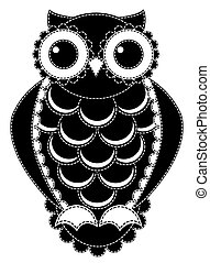 Silhouette patchwork owl. Isolated on white. Vector...