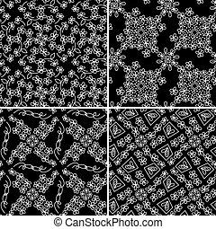 silhouette, pattern., seamless, textiel, vector, achtergrond, floral, bloemen
