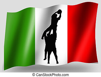 silhouette, pays, drapeau, linout, rugby, italien, sport, icône