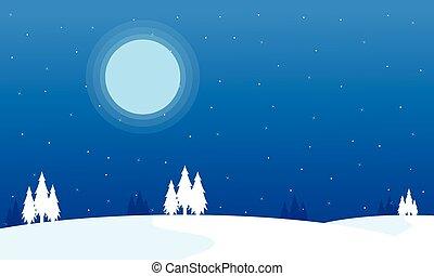silhouette, paysage hiver, noël