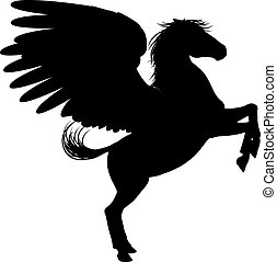 Silhouette Pegasus on Two Legs