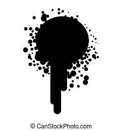 silhouette, peinture eclabousse, encre noire, icône