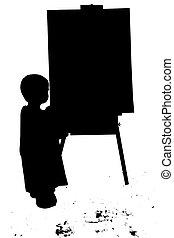 silhouette, peinture