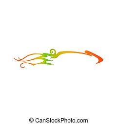 silhouette, pendenza, calamaro, calamary, logotype, vettore, logo.