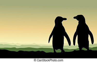 Silhouette penguin at sunset scenery