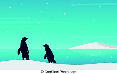 Silhouette penguin on beach with snow
