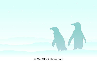 Silhouette penguin on the snow scenery