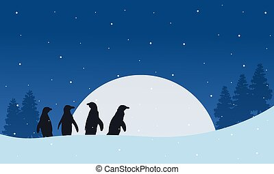 Silhouette penguin with moon landscape