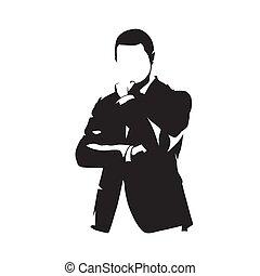 silhouette, pensée, isolé, vecteur, complet, homme affaires