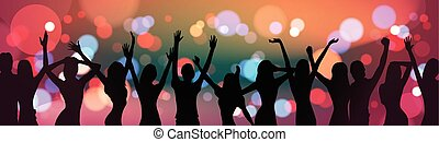 Silhouette People Dancing Over Holiday Firework Background...