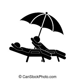 silhouette people in beach chair with umbrella