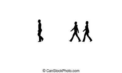 Silhouette People in crowd walking