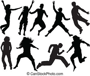 silhouette people jumping