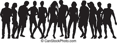 Silhouette people on a white backgr