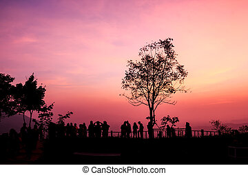 silhouette people on sunset view point