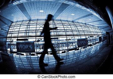 Silhouette people walking.