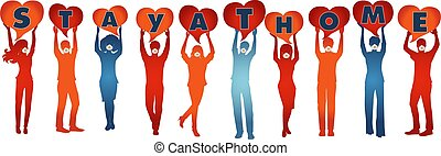 Silhouette people with medical masks holding heart-shaped speech bubble with written -stay at home- awareness campaign to prevent contagion coronavirus Covid-19