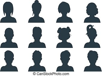 Silhouette person head. People profile avatars, human male...