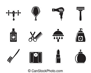 Personal care and cosmetics icons - Silhouette Personal care...