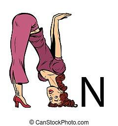 silhouette, persone affari, alfabeto, en., n, lettera