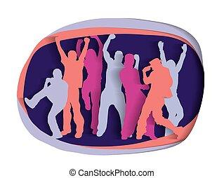 silhouette, persone, attivo, festa, disinserimento, felice