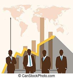 silhouette, persone, di, affari, concept.