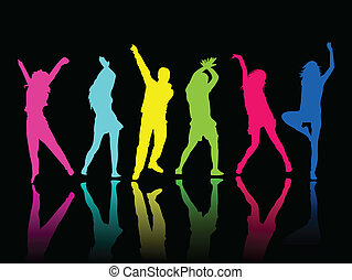 silhouette, persone, festa, ballo