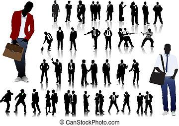 silhouette, persone ufficio