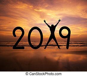 silhouette, personne, sauter, 2019, année, nouveau