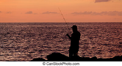 silhouette, pesca, uomo