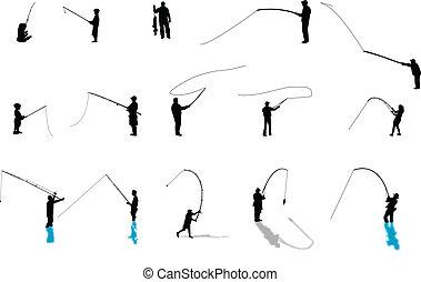 silhouette, pesca