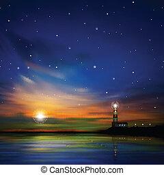 silhouette phare, résumé, fond