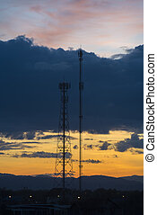 Silhouette phone antenna with sunset
