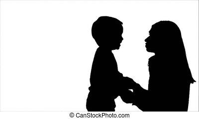 silhouette, photo famille, jeune, haut, regarder, enfants, heureux