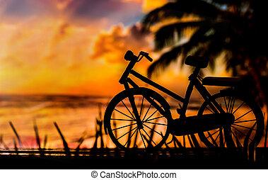 silhouette, photo, sombre, vélo, clef basse, tonalité