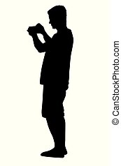 Silhouette photographing man.