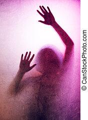 silhouette, piégé, mains arrière, lit, verre, mat, derrière, femme