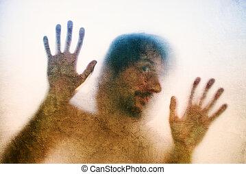 silhouette, piégé, mains arrière, lit, verre, mat, derrière, homme