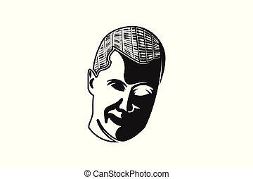silhouette, pianoforti, disegno, compositore, logotipo, uomo, o, ispirazione