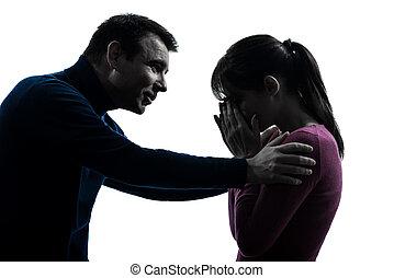 silhouette, pianto, donna uomo, coppia, consolare