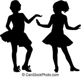 silhouette, piccolo, amici