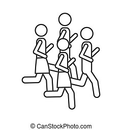 silhouette pictogram men jogging in marathon