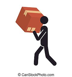 silhouette pictogram person carrying a box